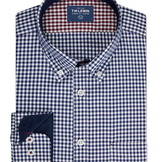 Casual Slim Fit Navy and White Gingham Single Cuff Shirt 0
