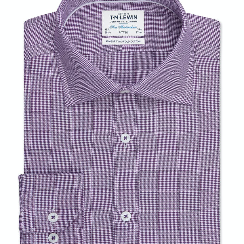 Optical Check Fitted Plum Single Cuff Shirt 0