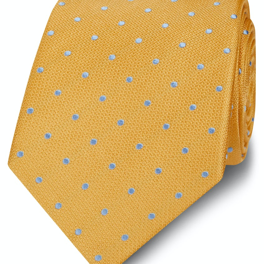 Wide Yellow and Blue Spot Silk Tie 0