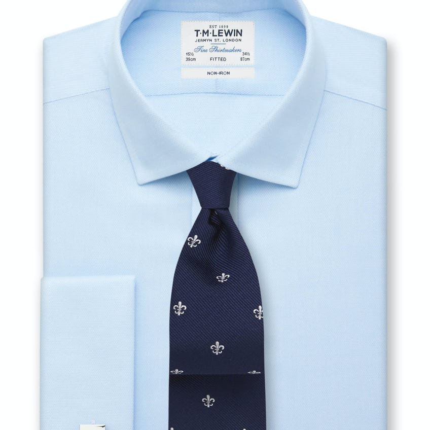 Non-Iron Fitted Blue Oxford Double Cuff Shirt 0