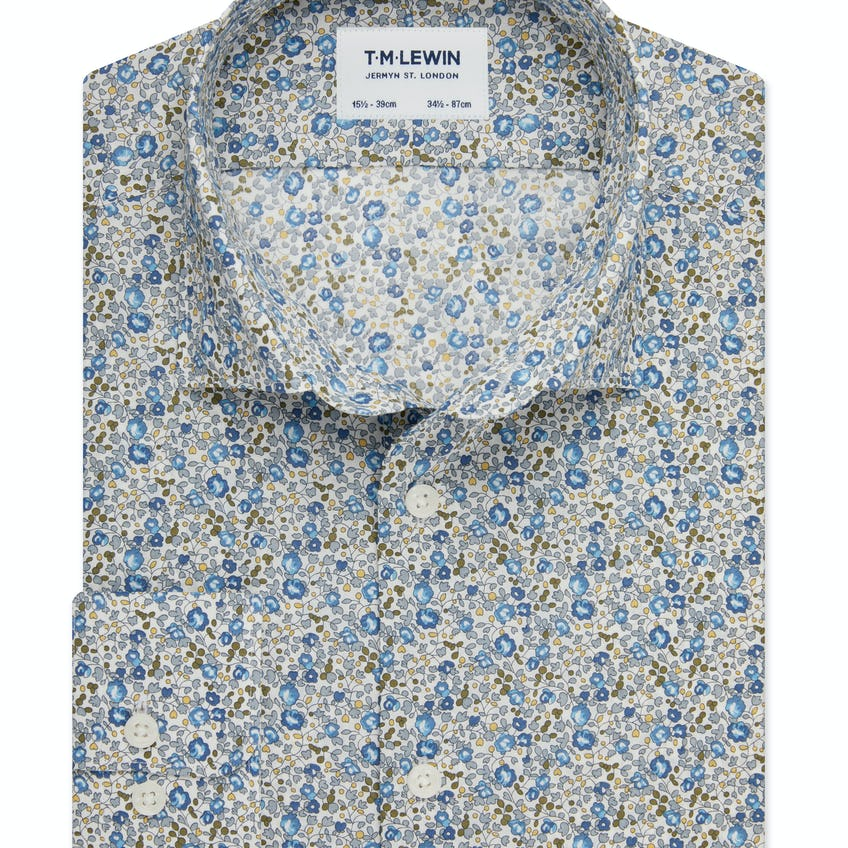 Slim Fit Blue ShirtMade with Liberty Fabric Eloise Print 0
