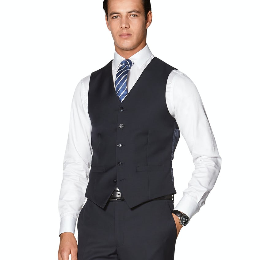 Hornsby Slim Fit Navy Twill WoolWaistcoat 0