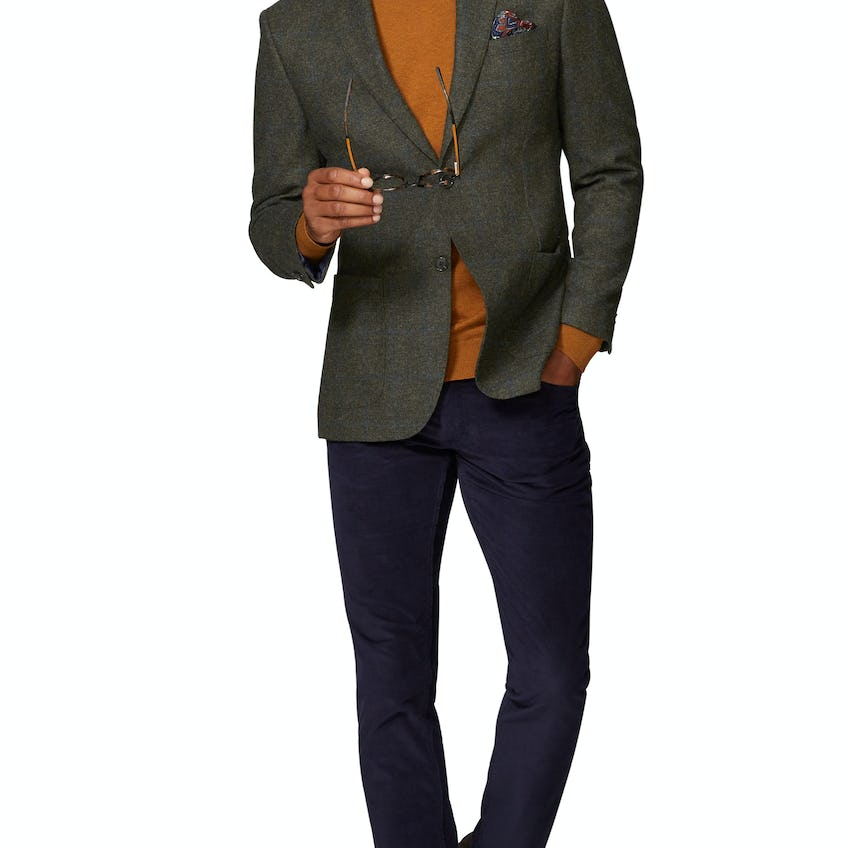 Hopkins Slim Fit Jacket In Green And Blue Wool Check 0