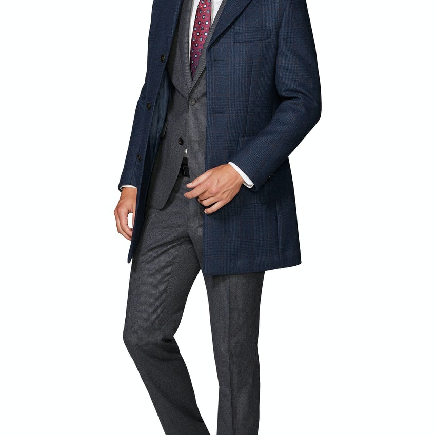 MacMillan Slim Fit Overcoat in Navy and Ginger Check Cashfeel Wool 0
