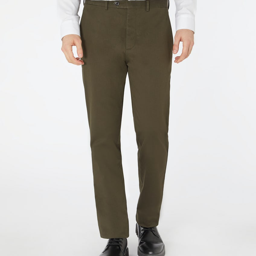 Non Iron Radcliffe Slim Fit Olive Chino 0