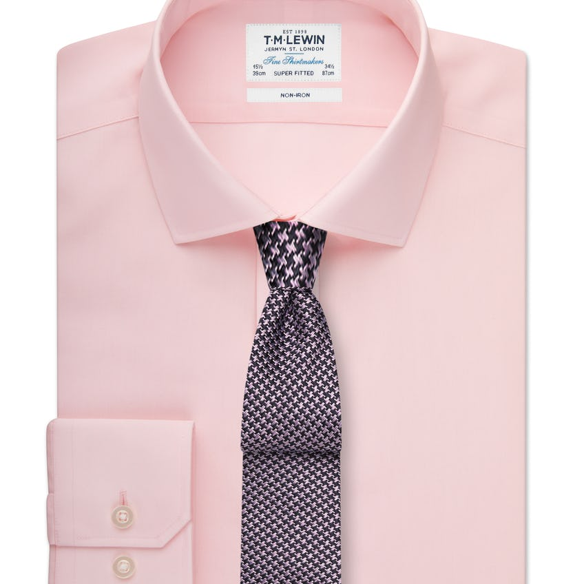 Non-Iron Super Fitted Pink Shirt 0