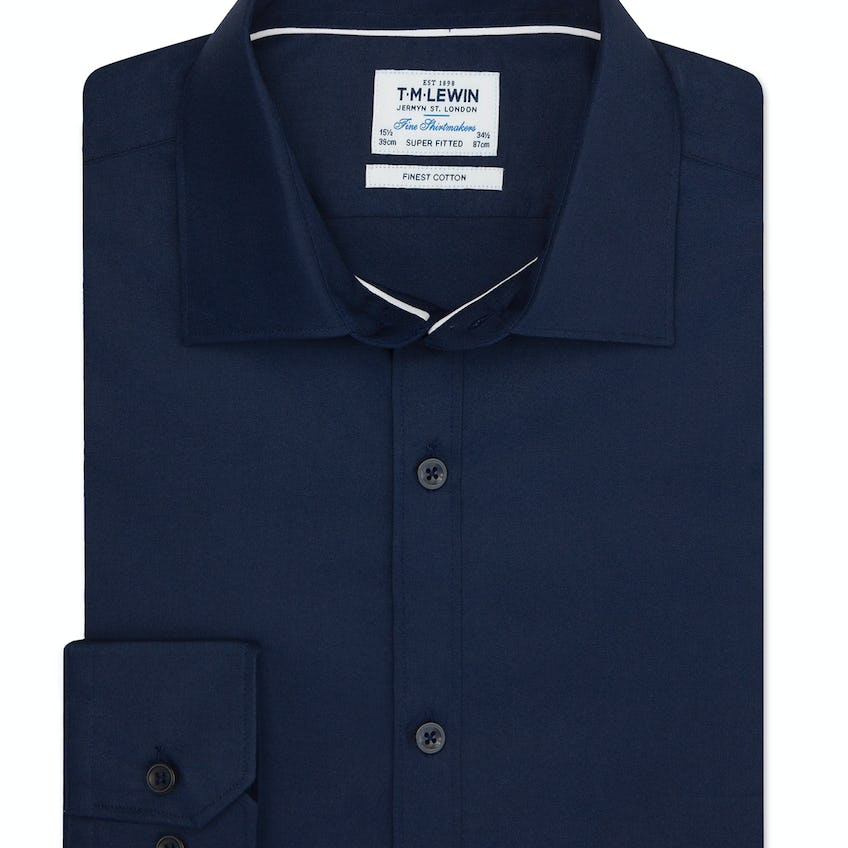 Twill Super Fitted Navy Shirt 0