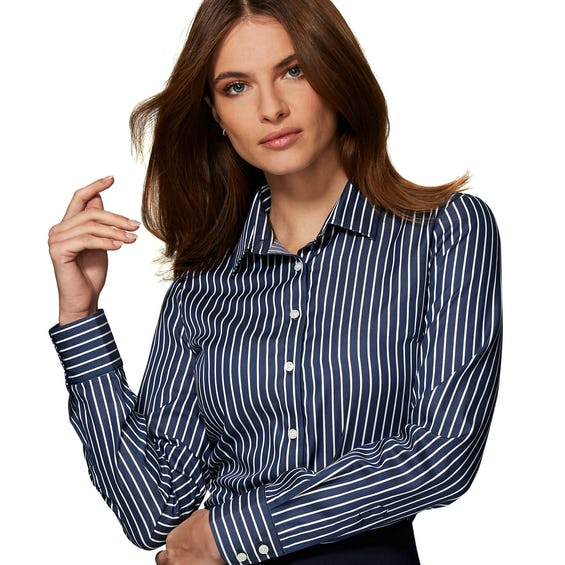 Gape Free Fitted Navy and White Stripe Shirt 0