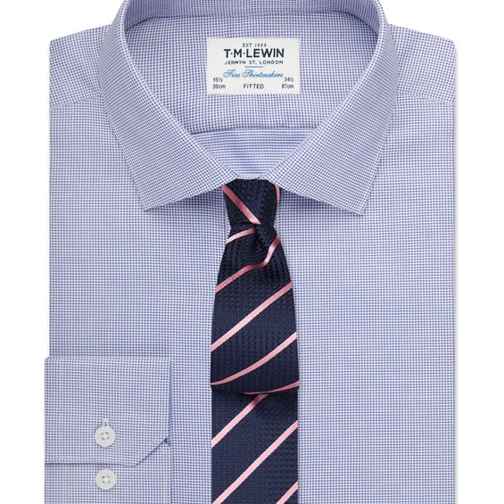 Fitted Navy Textured Oxford Shirt 0