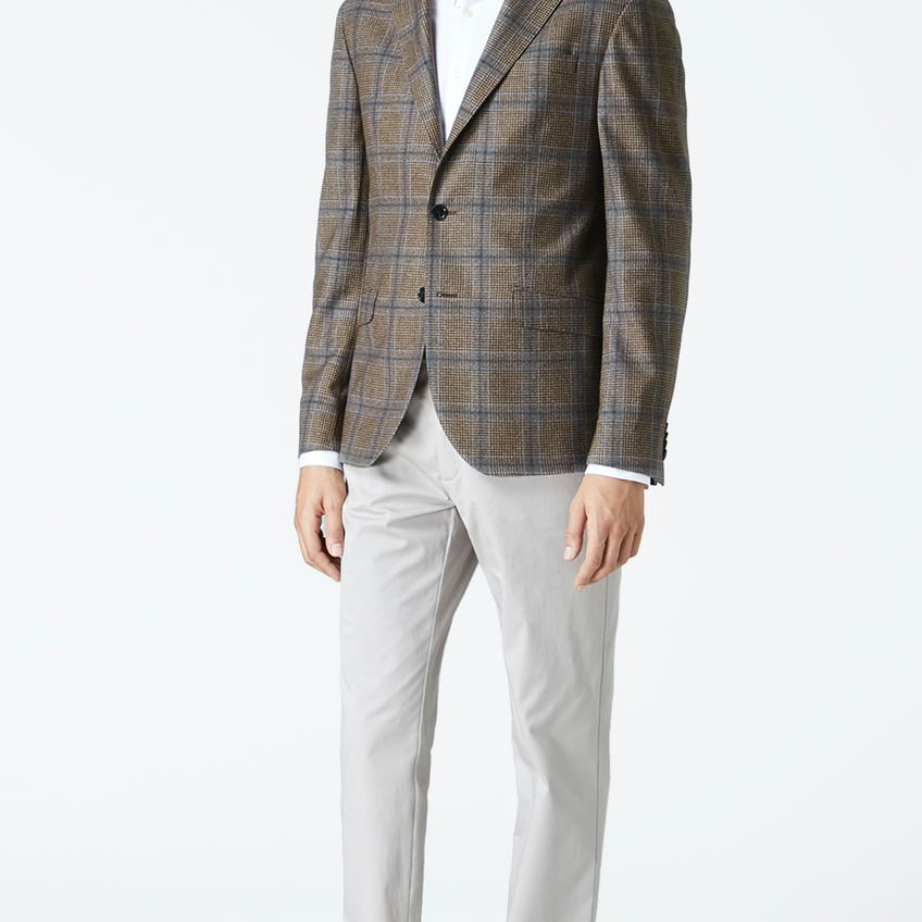 Maiden Slim Fit Blue And Brown Glencheck Jacket 0