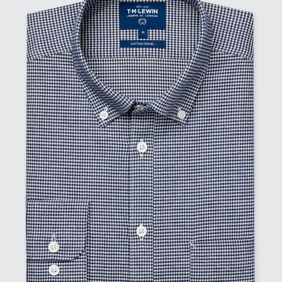 Slim Fit Navy Dogstooth Flannel Shirt 0