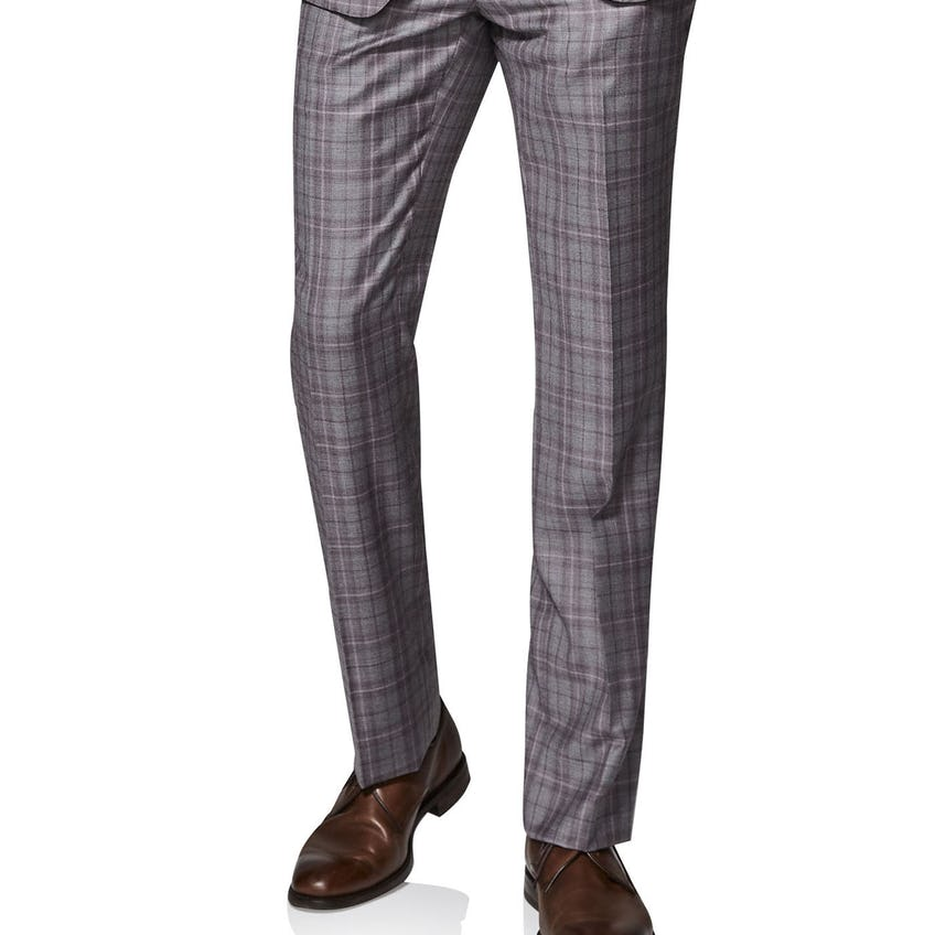 Highgrove Woven in Italy Slim Fit Grey Check Trousers 0
