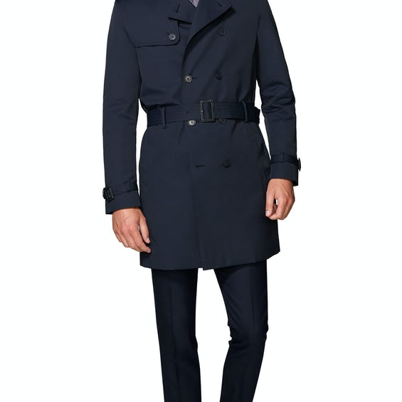 Murray Navy Cotton Blend Trench Coat 0