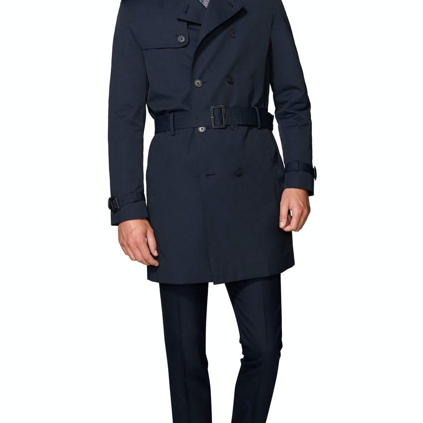Murray Navy Cotton Blend Trench Coat