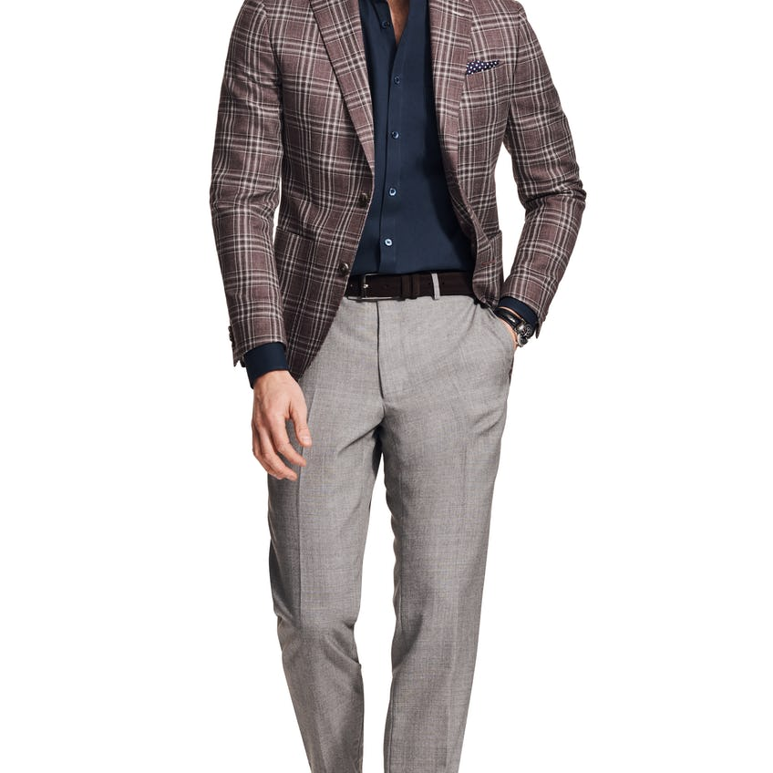 Charterhouse Woven in Italy Slim Fit Raspberry Check Jacket 0