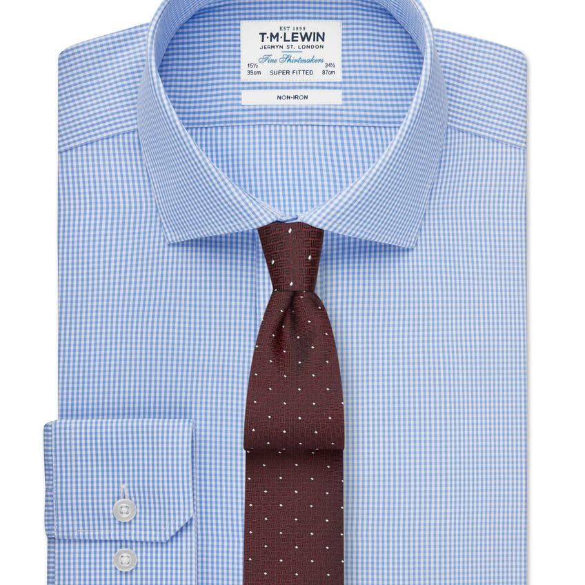 Non-Iron Super Fitted Blue Gingham Poplin Shirt 0