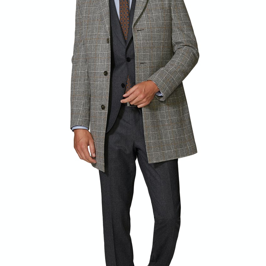 Ward Slim Fit Overcoat in Black and White Check Cashfeel Wool 0