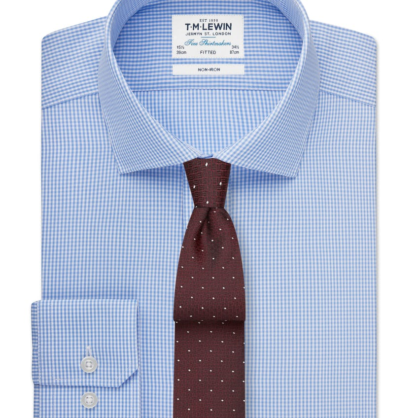 Non-Iron Fitted Blue Gingham Shirt 0