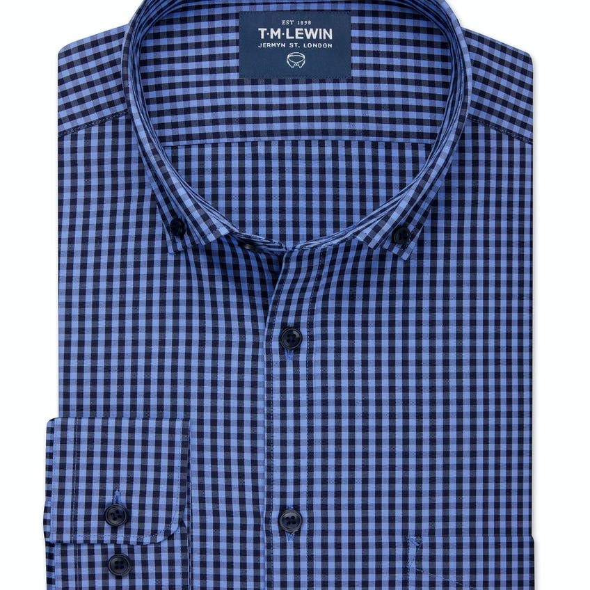Slim Fit Blue and Navy Gingham Shirt 0