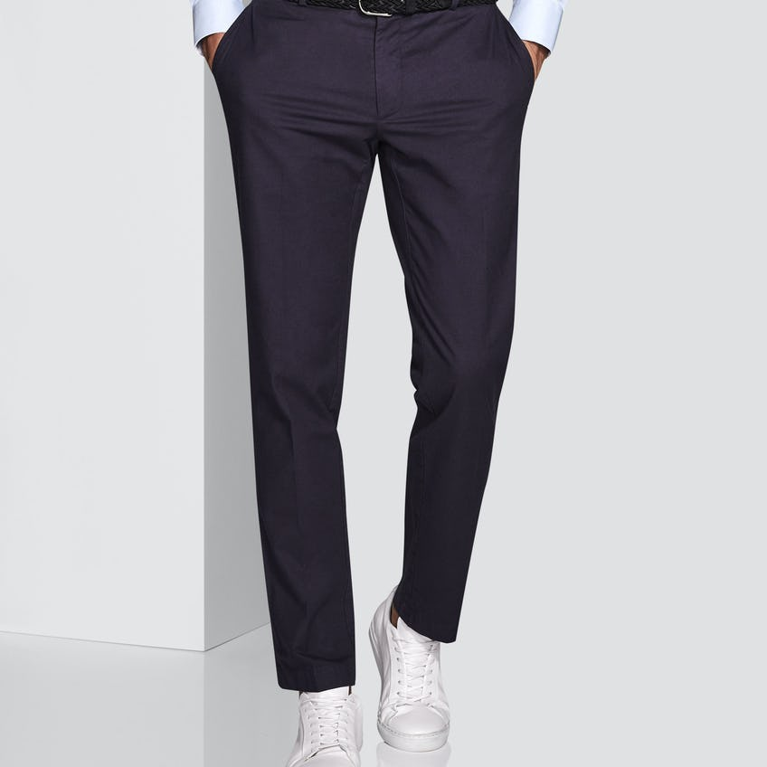 Connery Tailored Fit Navy Cotton Linen Trouser