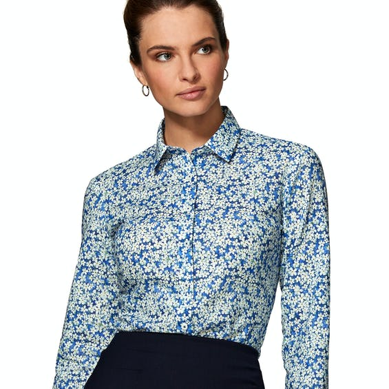 Made with Liberty Fabric Fitted Blue Petal Wish Shirt 0