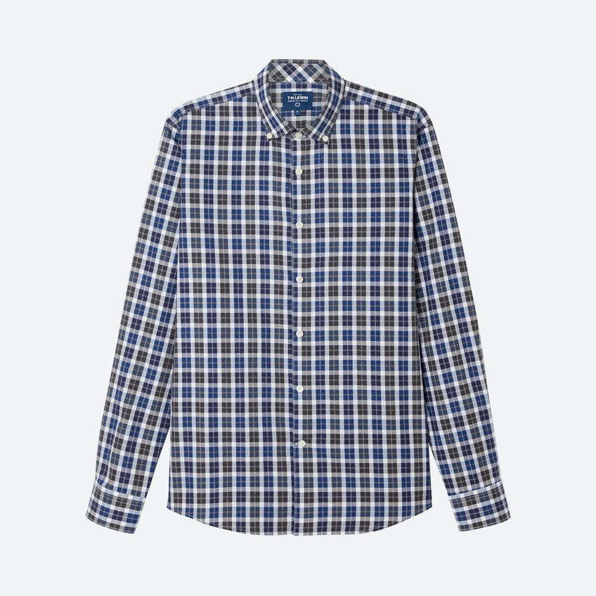 Jaspe Slim Fit Bold Check Navy Brown Shirt
