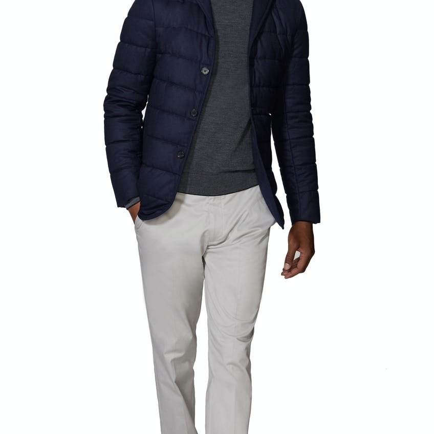 Bocelli Slim Fit Quilted Jacket in Navy Wool 0