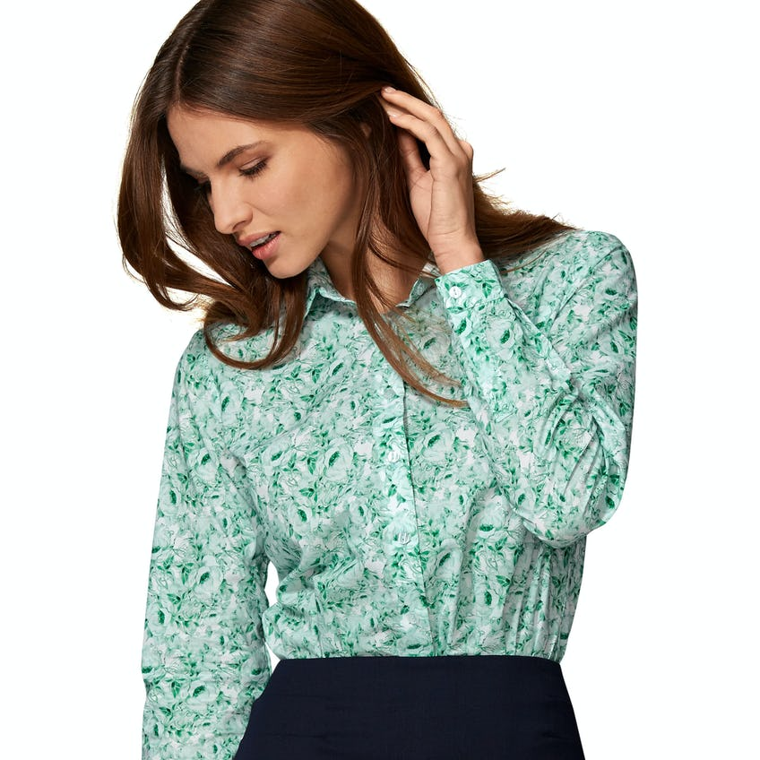 Semi Fitted Green Lisianthus Shirt 0
