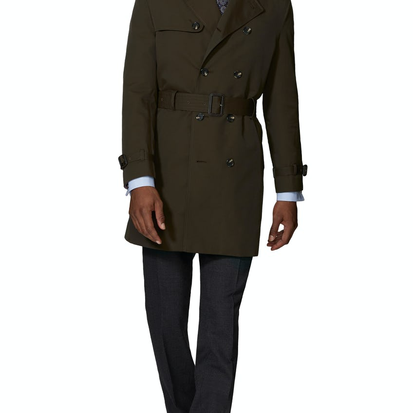 Spencer Slim Fit Trench Coat in Olive Showerproof Fabric 0
