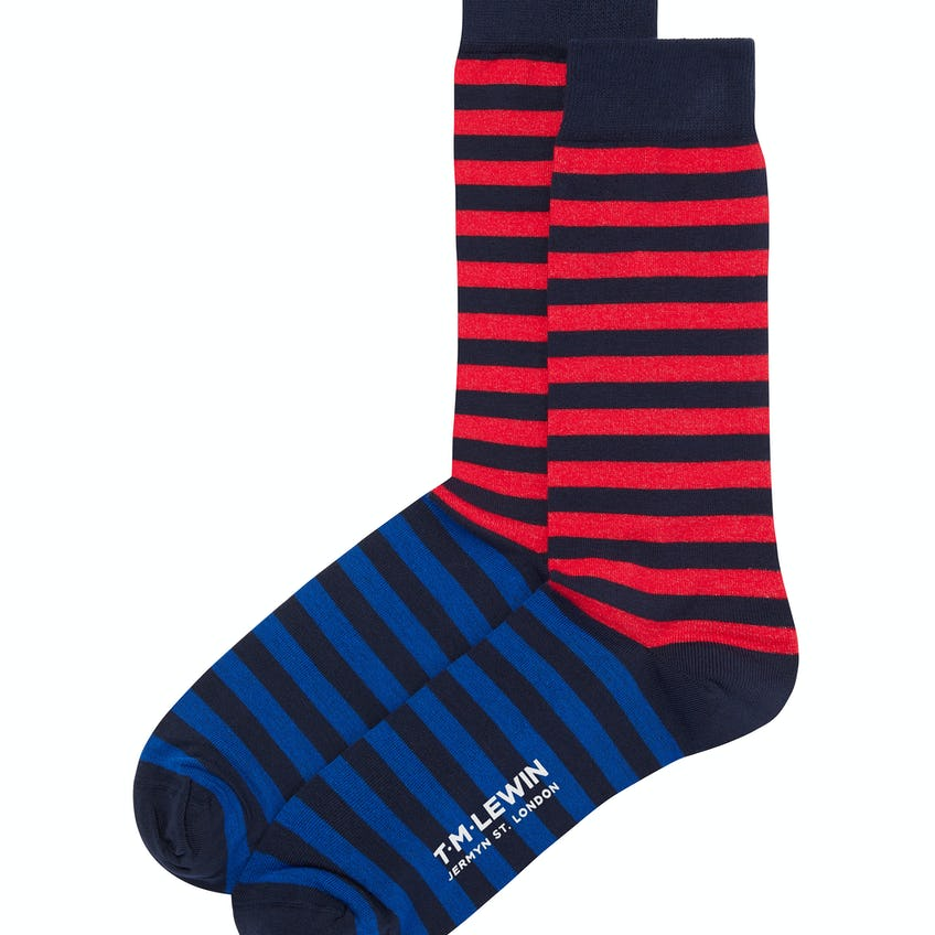 Navy and Red Double Stripe Socks 0