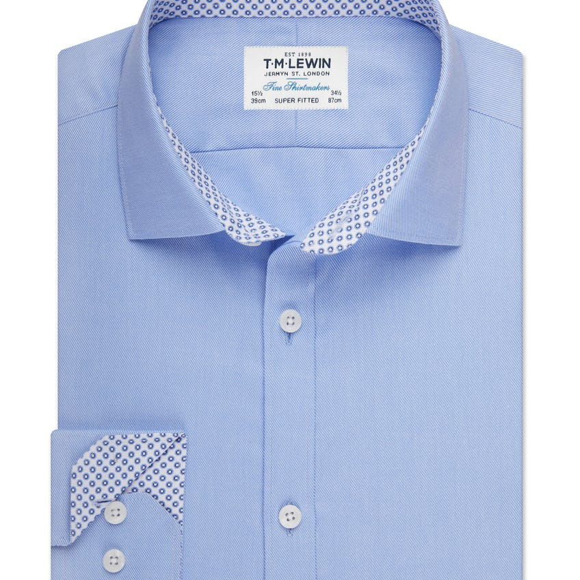 Super Fitted Blue Twill Shirt 0