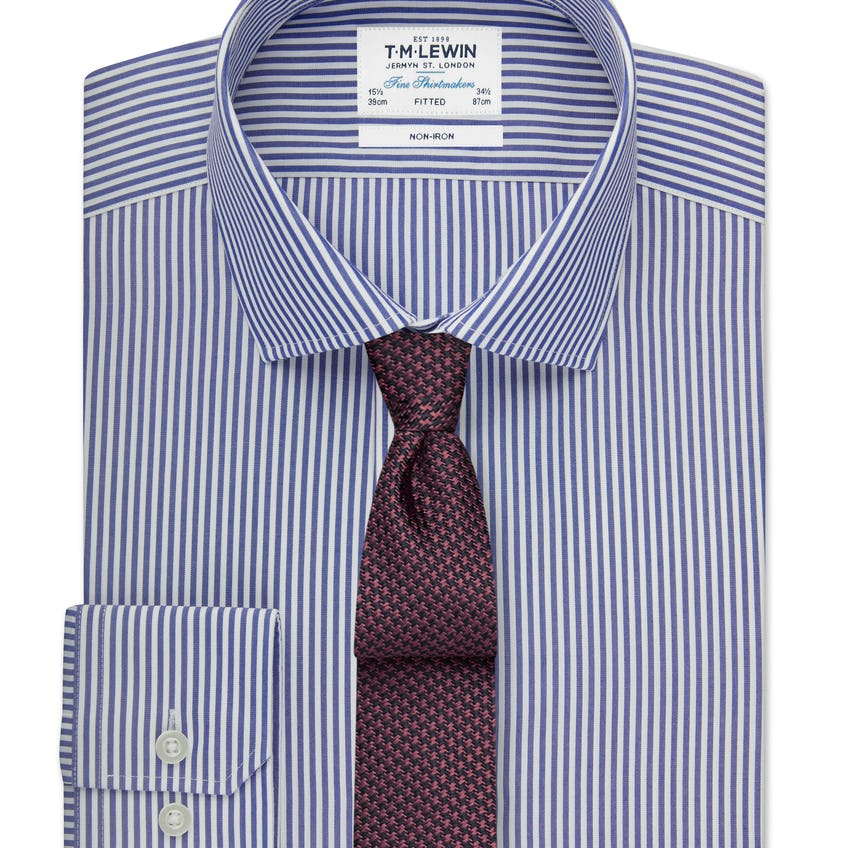 Non-Iron Fitted Navy Stripe Shirt 0