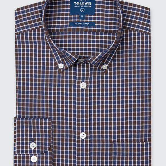 Slit Fit Brown Small Check Flannel Shirt 0