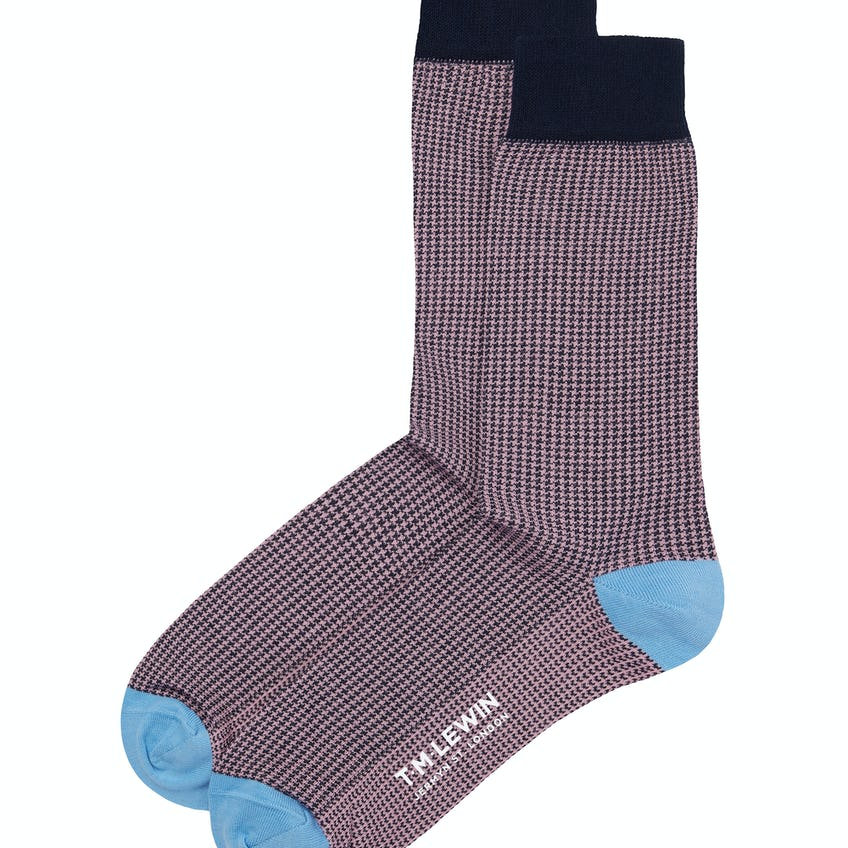 Navy and Pink Puppytooth Socks 0