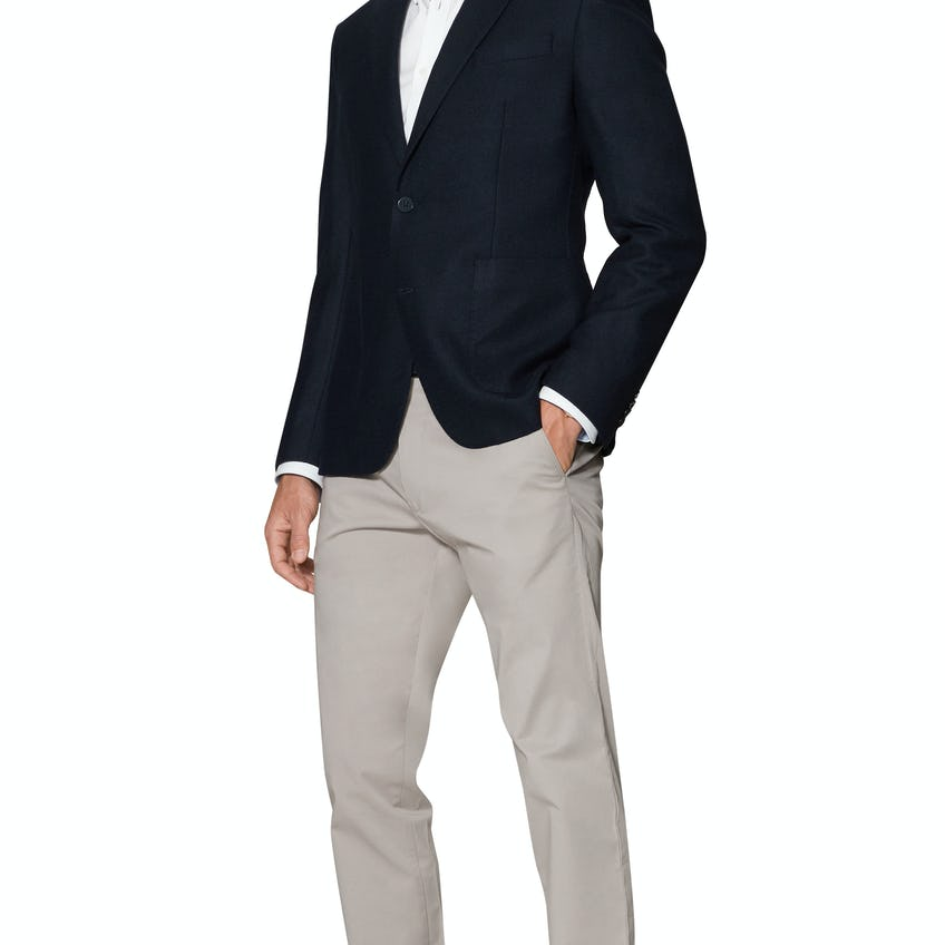 Forth Slim Fit Jacket in Navy Wool and Cashmere Blend 0