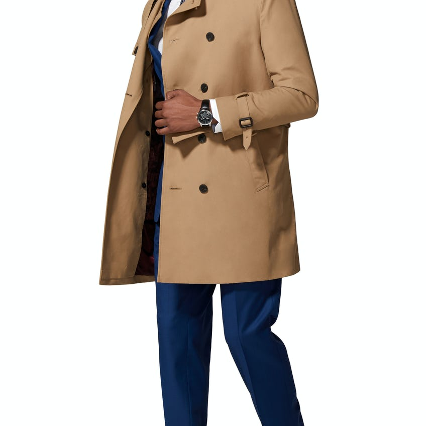 Salisbury Slim Fit Trench Coat in Stone Cotton Blend 0