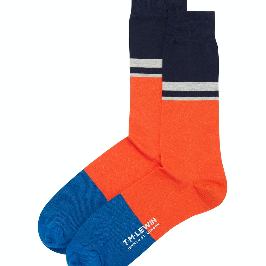 Orange and Navy Blocked Stripe Socks