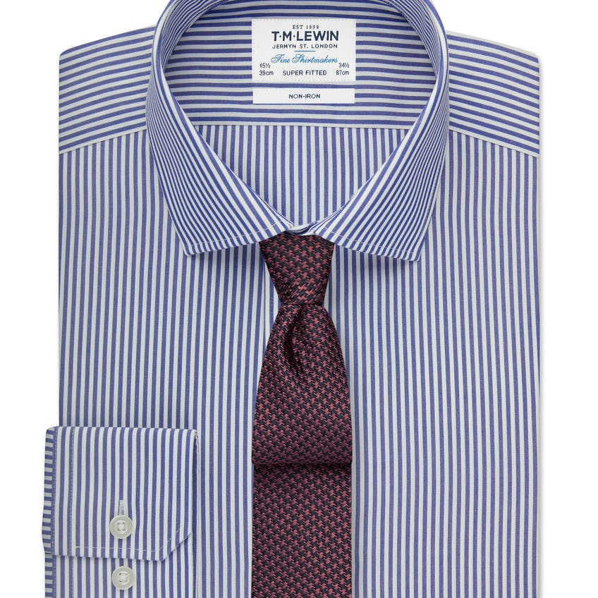 Non-Iron Super Fitted Navy Stripe Shirt 0
