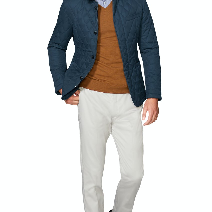 Penrose Slim Fit Quilted Jacket in Navy 0