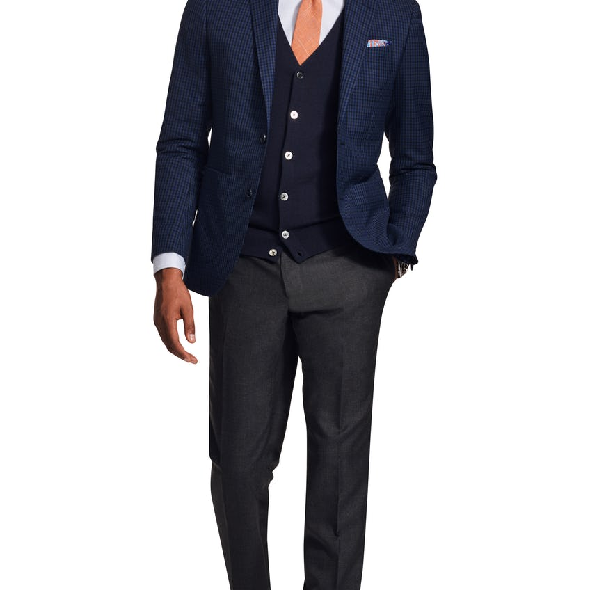 Gracechurch Woven in Italy Slim Fit Navy and Blue Gingham Jacket 0