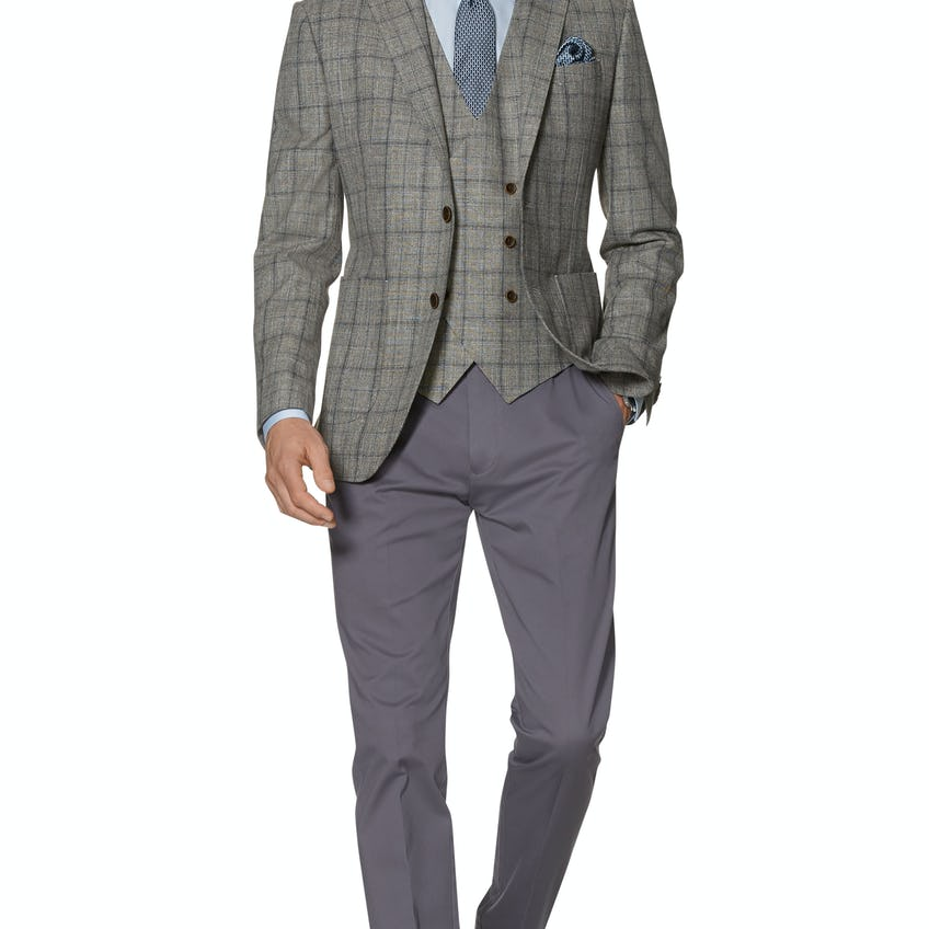Imola Slim Fit Jacket in Beige and Blue Wool Cotton Check 0
