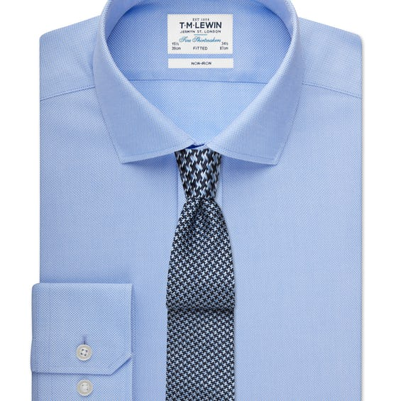 Non-Iron Fitted Blue Shirt 0