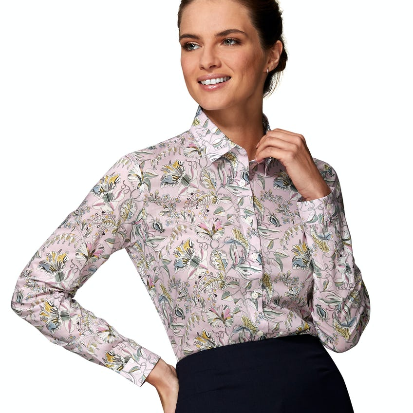 Made with Liberty Fabric Fitted Pink Kew Road Shirt 0