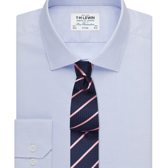 Fitted Sky Blue Textured Oxford Shirt 0