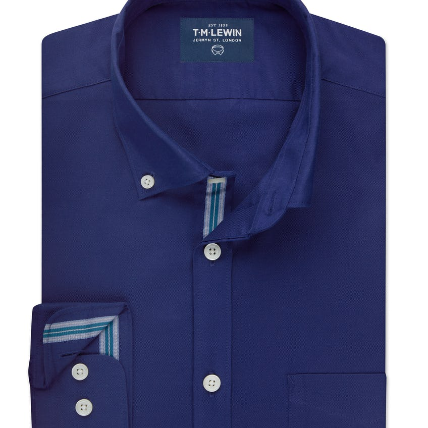 Oxford Selvedge Slim Fit Navy and Teal Shirt 0