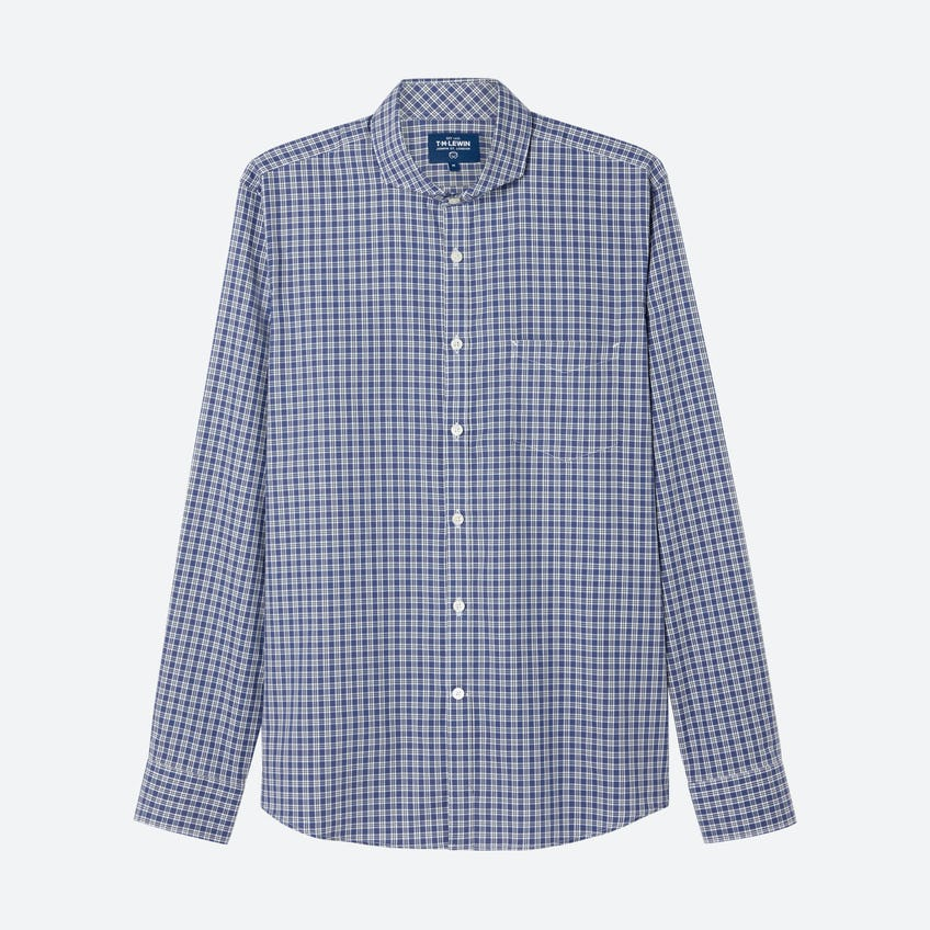 Prince of Wales Check Slim Fit Blue Shirt 0