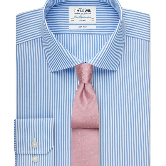 Non-Iron Fitted Blue Stripe Shirt 0
