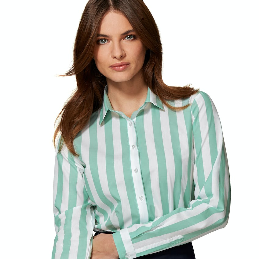 Fitted Mint Bold Stripe Shirt