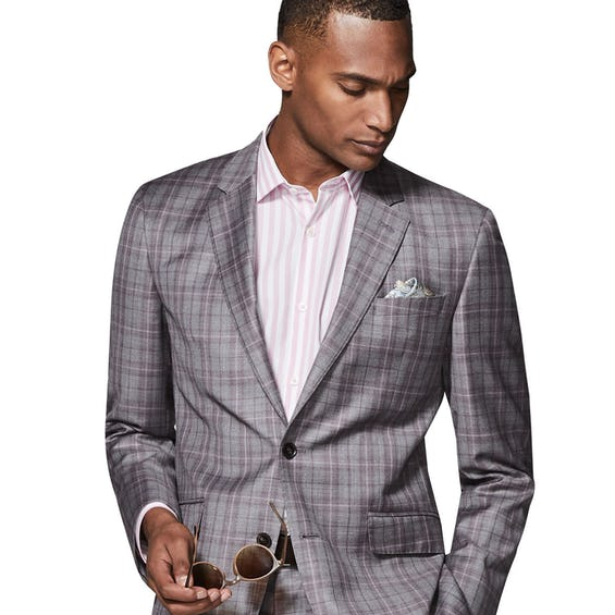 Highgrove Woven in Italy Slim Fit Grey Check Jacket 0