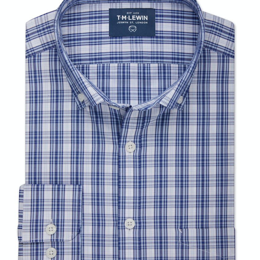 Slim Fit Blue and White Oxford Check Shirt 0